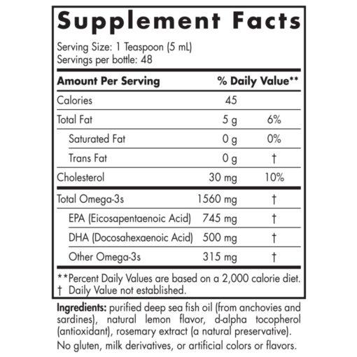 Nordic Naturals Omega 3 Liquid 8oz 237ml Nutrional Information