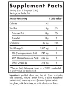 Nordic Naturals Omega 3 Liquid 16oz 473ml Nutrional Information